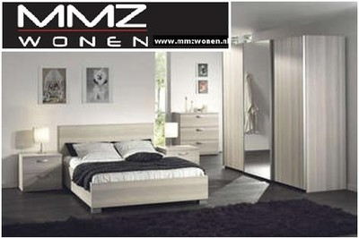 Hout Slaapkamer Meubels : Meubelen slaapkamer liam gebroken wit hout kast spiegel
