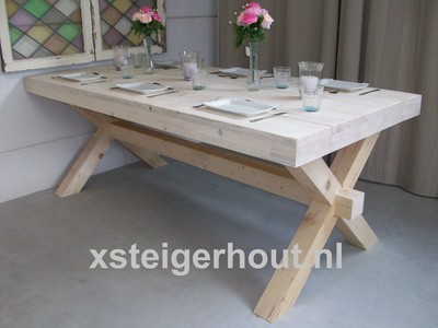 Meubelen kruispoot kasteel tafel bouwpakket steigerhout for Tuintafel steigerhout bouwpakket