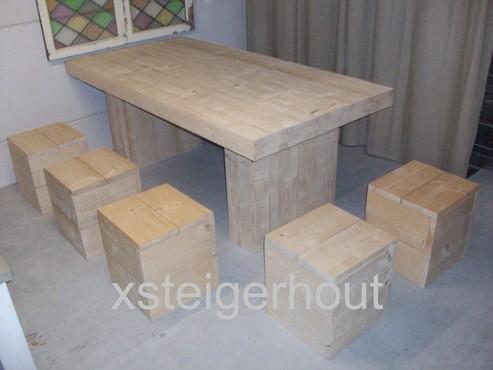 Meubelen blokpoot tafel bouwpakket steigerhout for Bouwpakket steigerhout
