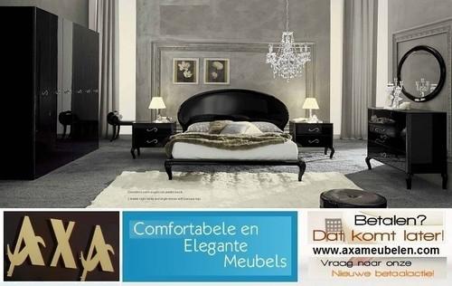 meubelen - Italiaanse barok hoogglans zwart boxsprings slaapkamer AXA ...