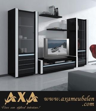 meubelen - Italiaans design hoogglans zwart woonkamer meubel led licht ...