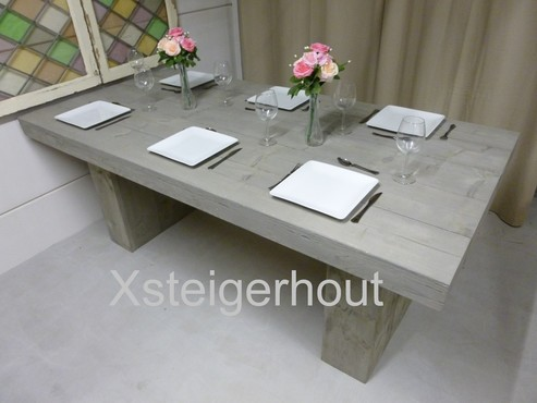 Meubelen blokpoot tafel bouwpakket steigerhout xsteigerhout.nl